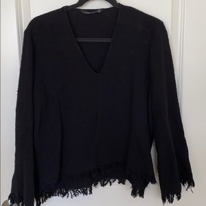 Zara Bell sleeve v-neck sweater with frayed edges